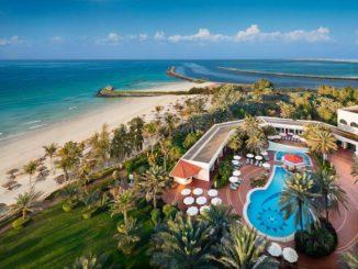 Ajman Hotel overlooks the clear blue waters of the Arabian Gulf
